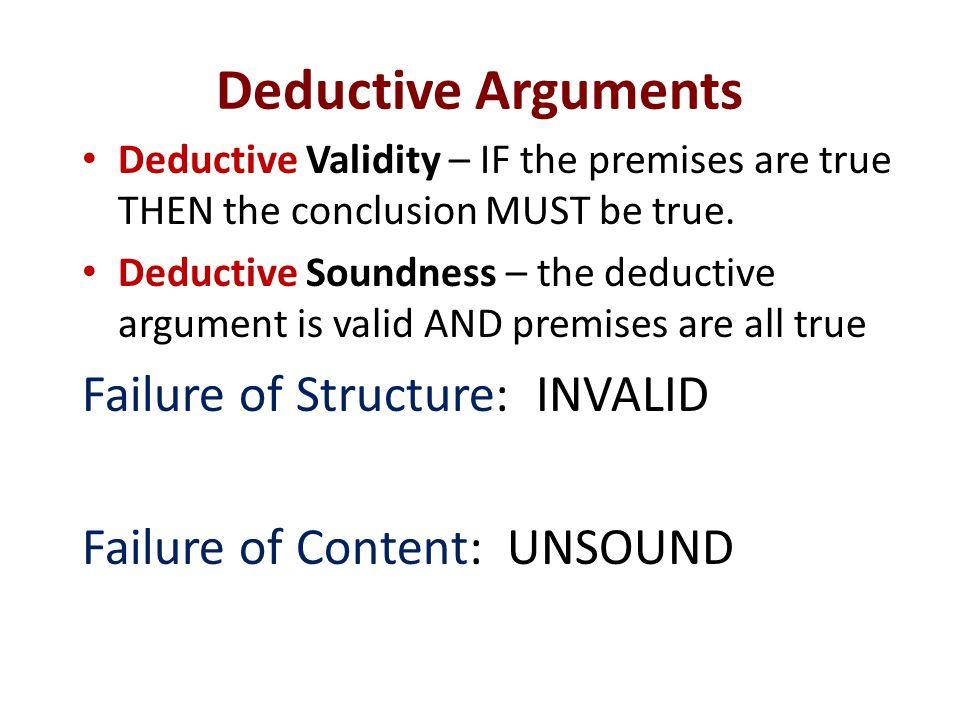 Deductive Arguments Failure of Structure: INVALID