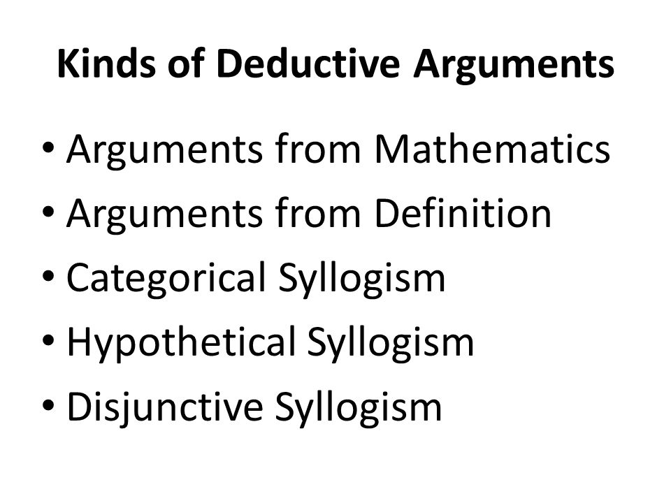 Kinds of Deductive Arguments