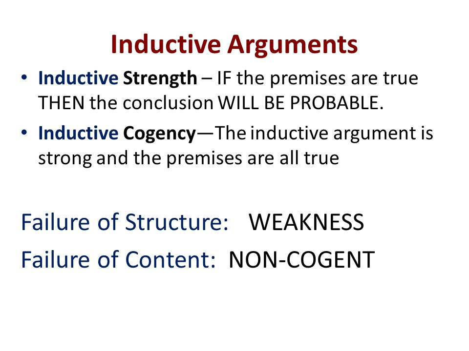 Inductive Arguments Failure of Structure: WEAKNESS