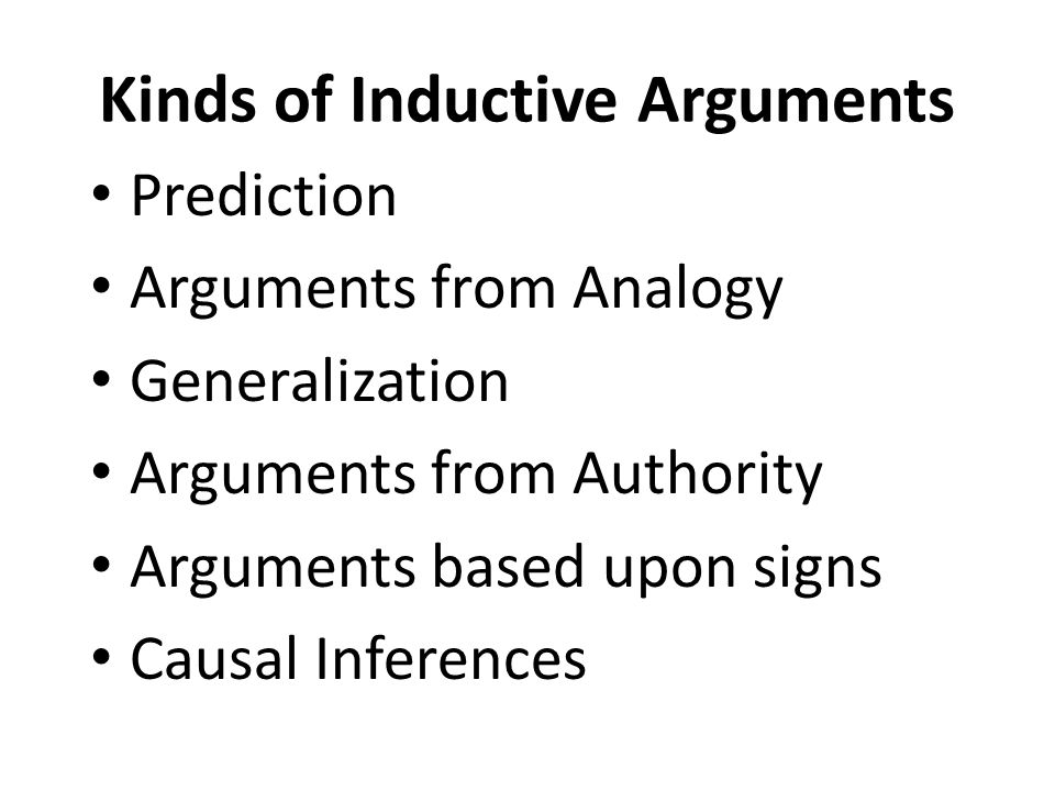 Kinds of Inductive Arguments