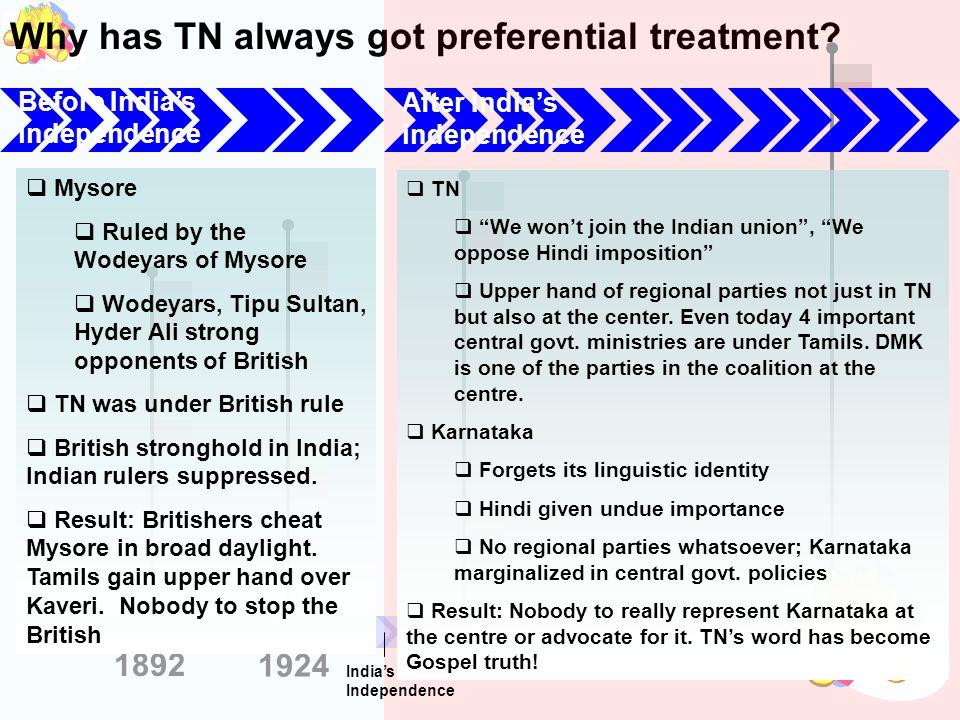 Why has TN always got preferential treatment