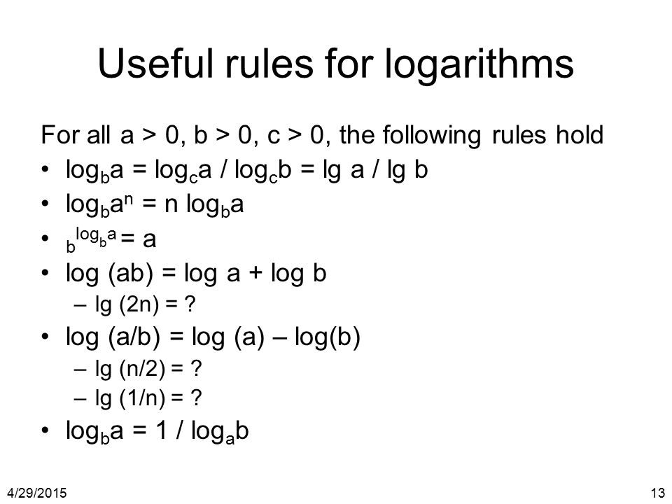 Useful rules for logarithms