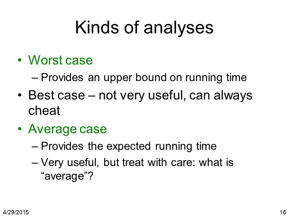 Kinds of analyses Worst case