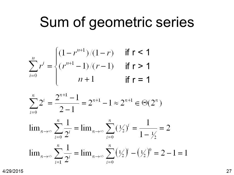 Sum of geometric series
