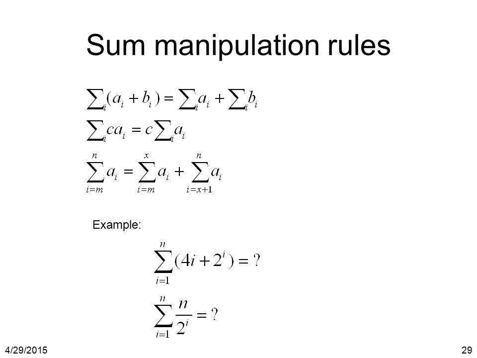 Sum manipulation rules