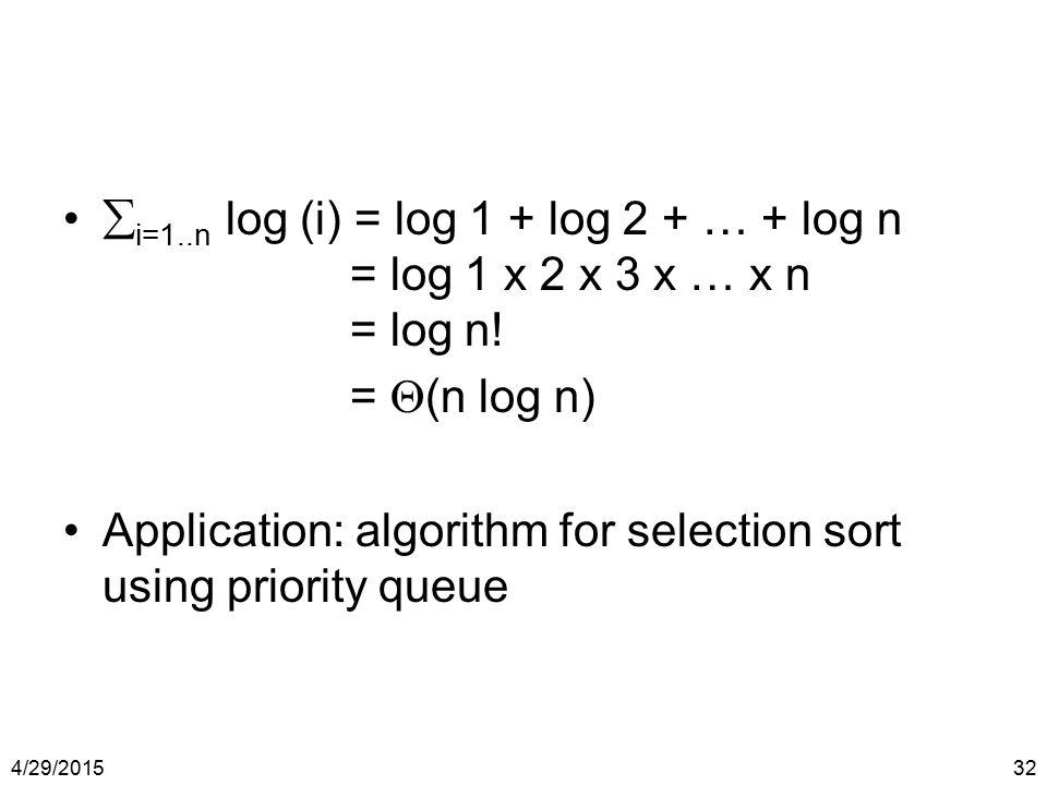 Application: algorithm for selection sort using priority queue