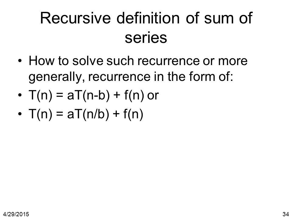 Recursive definition of sum of series