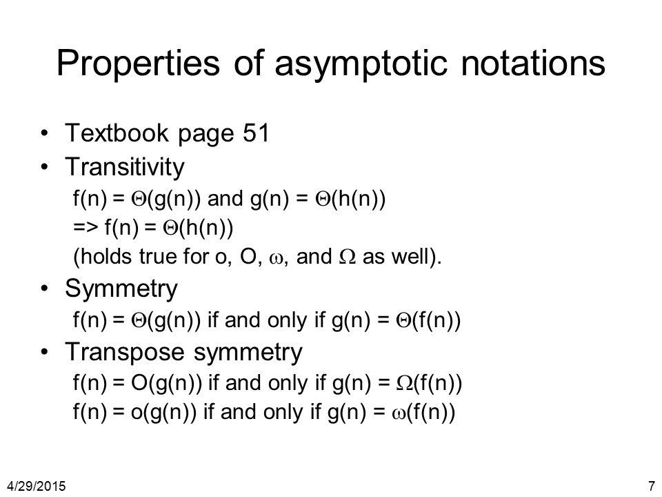 Properties of asymptotic notations