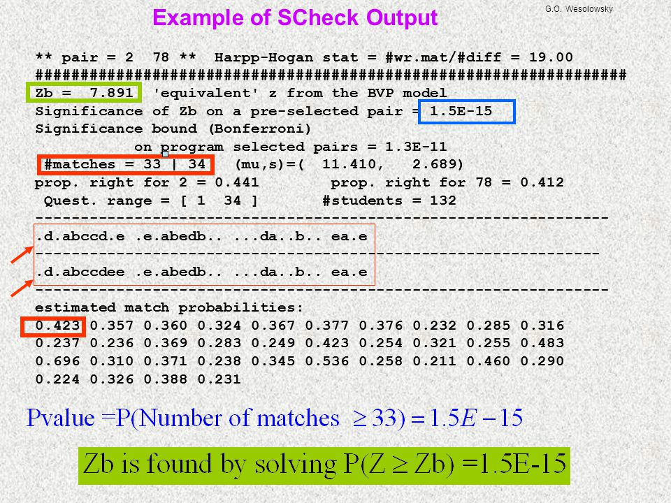 Example of SCheck Output