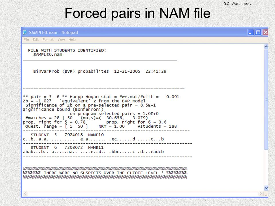 Forced pairs in NAM file