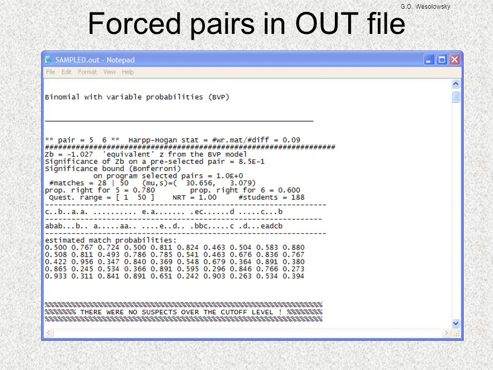 Forced pairs in OUT file