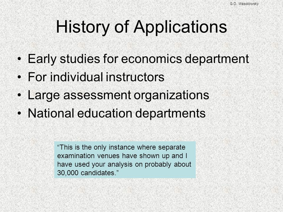 History of Applications