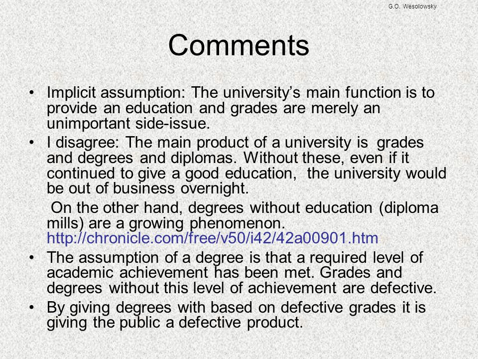 G.O. Wesolowsky Comments.