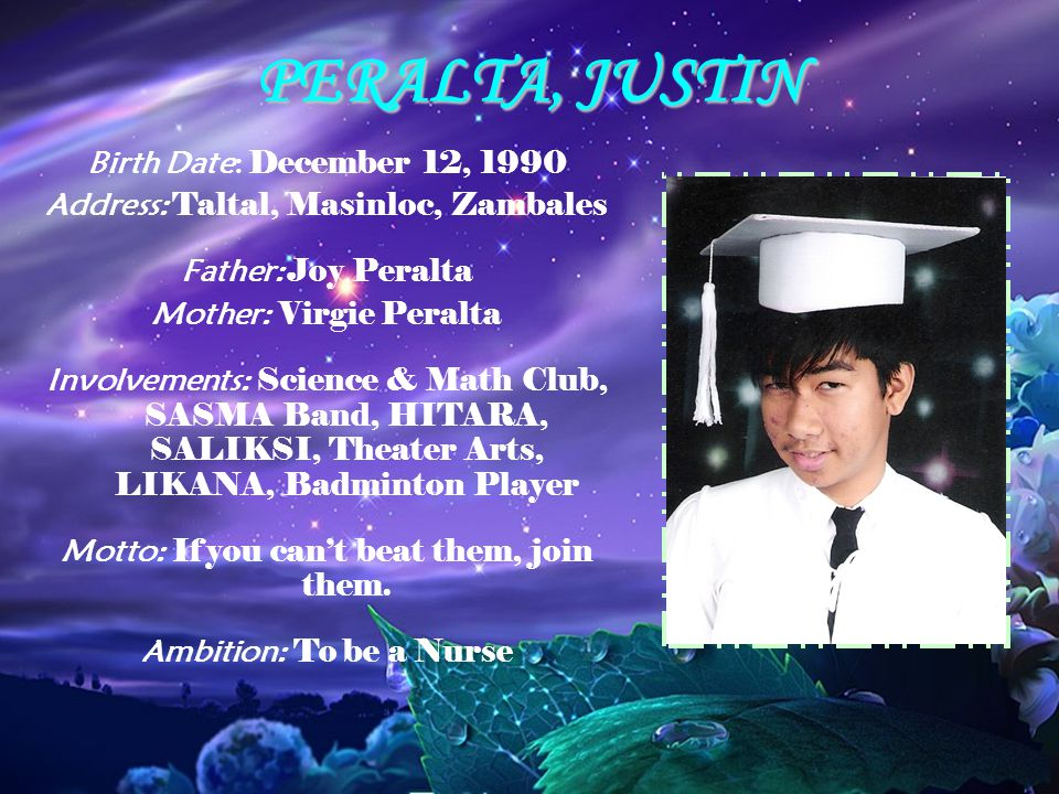 PERALTA, JUSTIN Birth Date: December 12, 1990