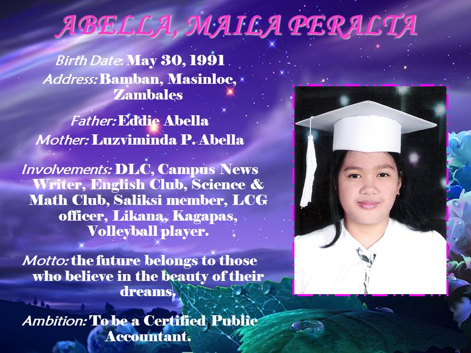 ABELLA, MAILA PERALTA Birth Date: May 30, 1991