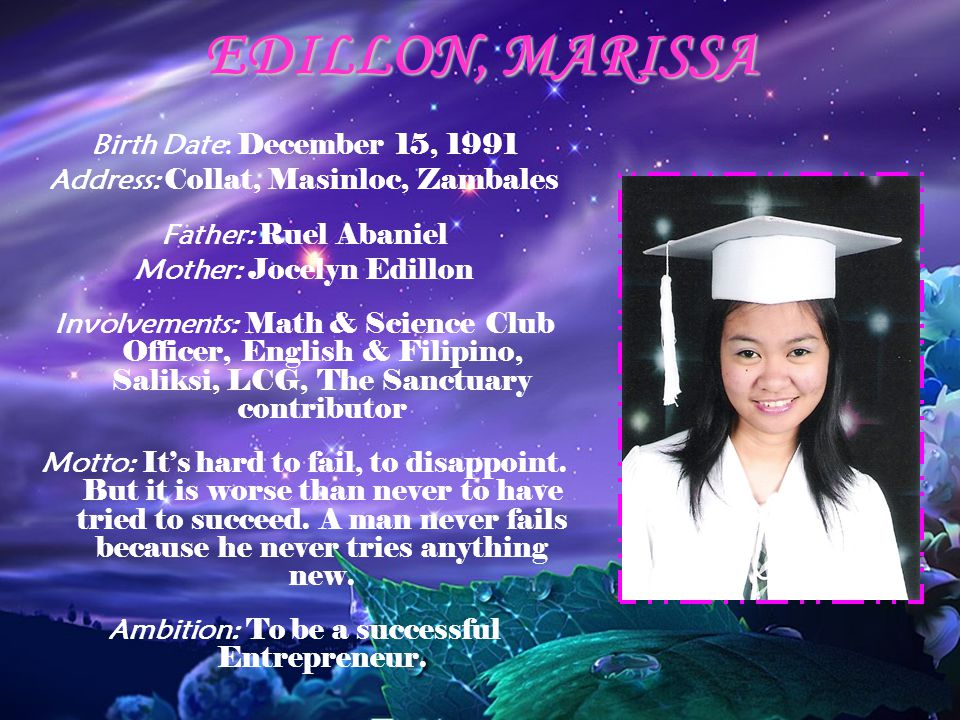 EDILLON, MARISSA Birth Date: December 15, 1991