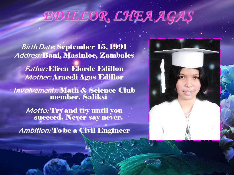 EDILLOR, LHEA AGAS Birth Date: September 15, 1991