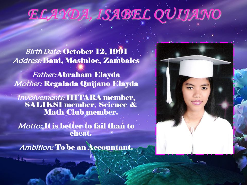 ELAYDA, ISABEL QUIJANO Birth Date: October 12, 1991