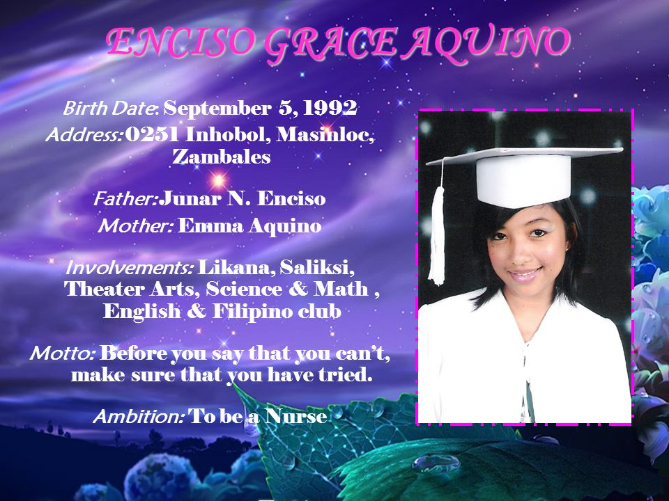 ENCISO GRACE AQUINO Birth Date: September 5, 1992