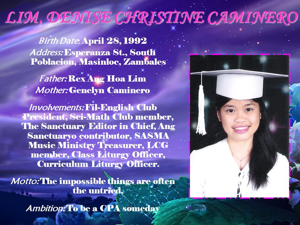 LIM, DENISE CHRISTINE CAMINERO
