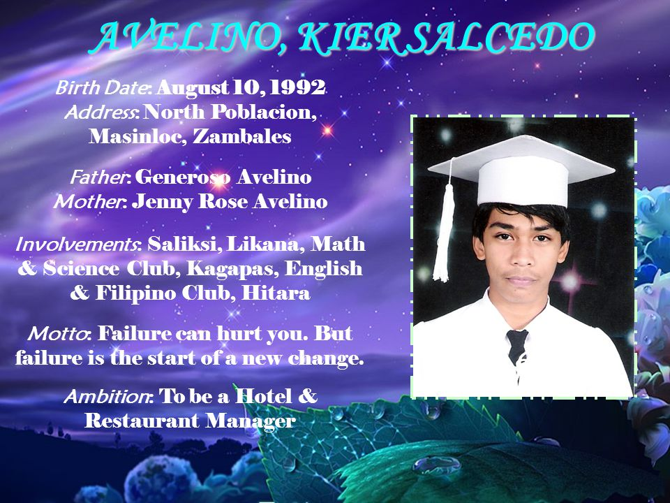 AVELINO, KIER SALCEDO Birth Date: August 10, 1992