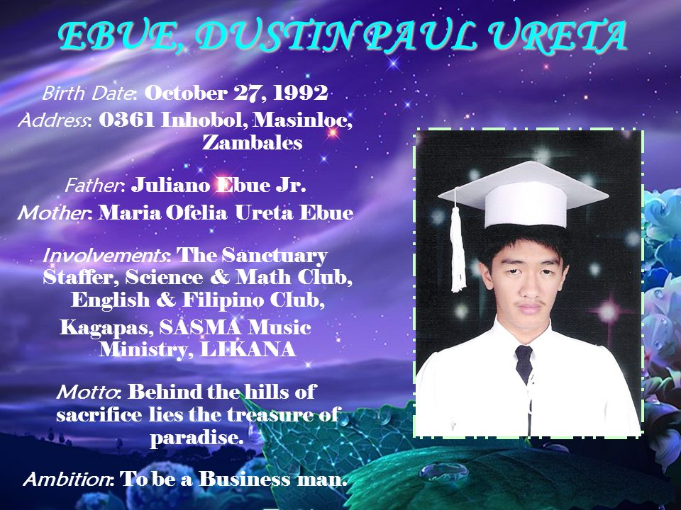 EBUE, DUSTIN PAUL URETA Birth Date: October 27, 1992