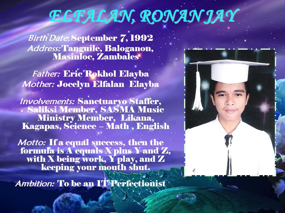 ELFALAN, RONAN JAY Birth Date: September 7, 1992