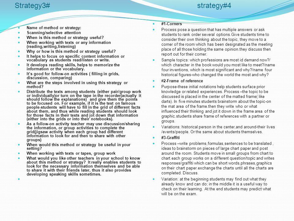 Strategy3# strategy#4 #1-Corners