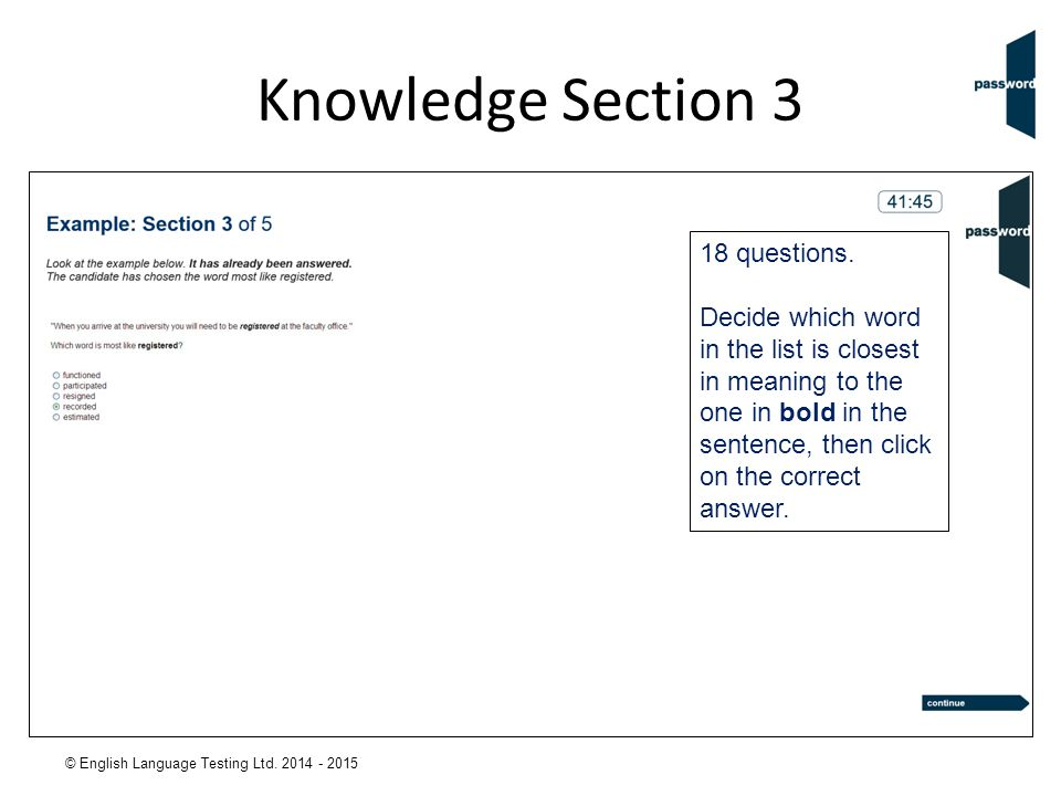 Knowledge Section 3 18 questions.