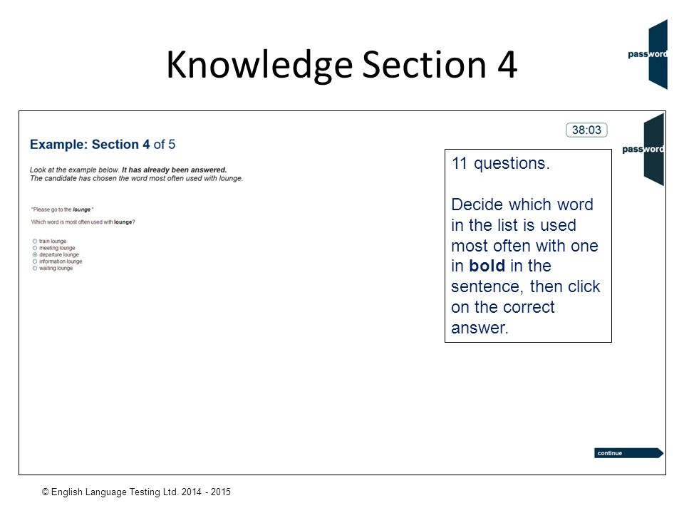 Knowledge Section 4 11 questions.