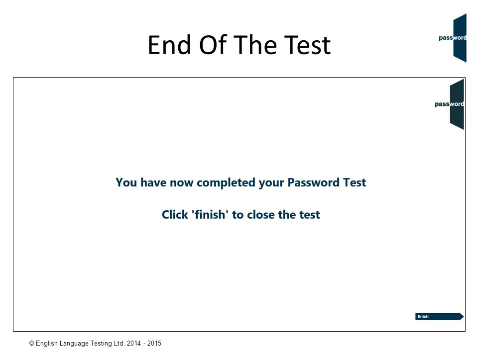 End Of The Test