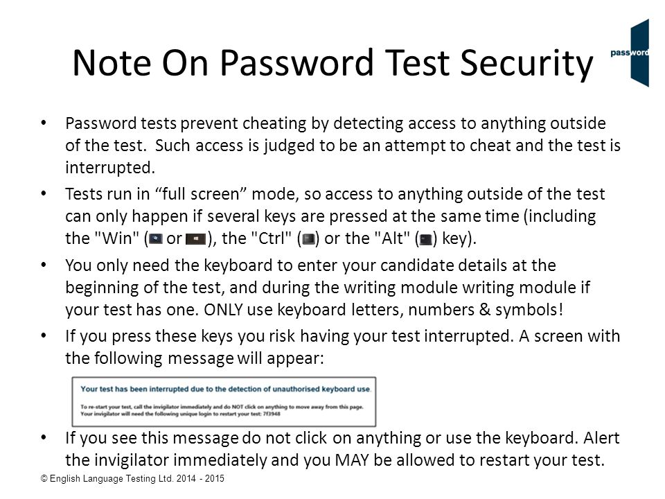 Note On Password Test Security