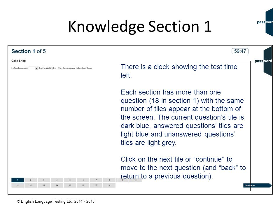 Knowledge Section 1 There is a clock showing the test time left.