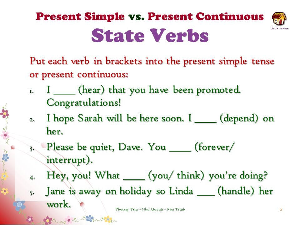 Present Simple vs. Present Continuous State Verbs