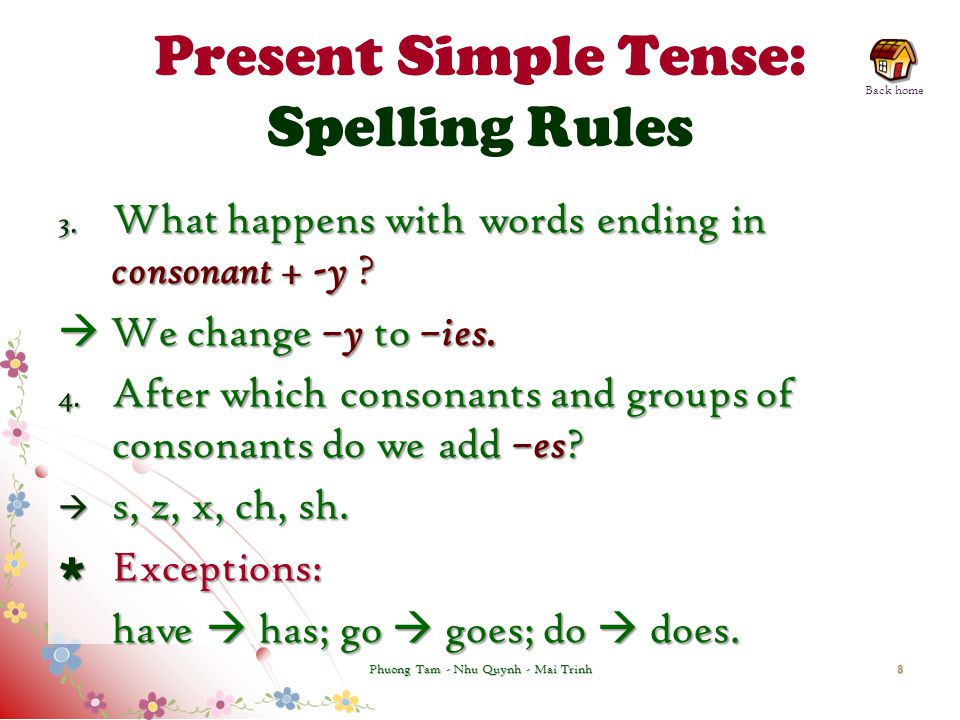 Present Simple Tense: Spelling Rules