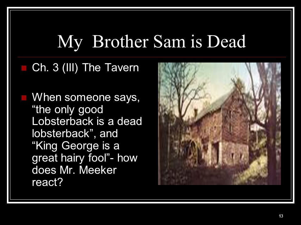 My Brother Sam is Dead Ch. 3 (III) The Tavern