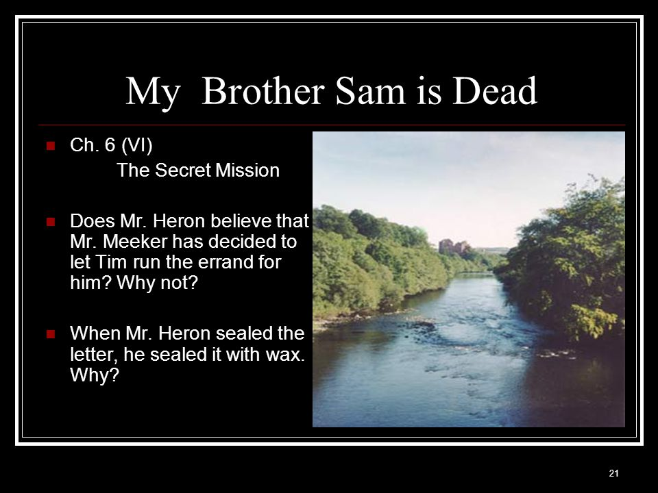 My Brother Sam is Dead Ch. 6 (VI) The Secret Mission