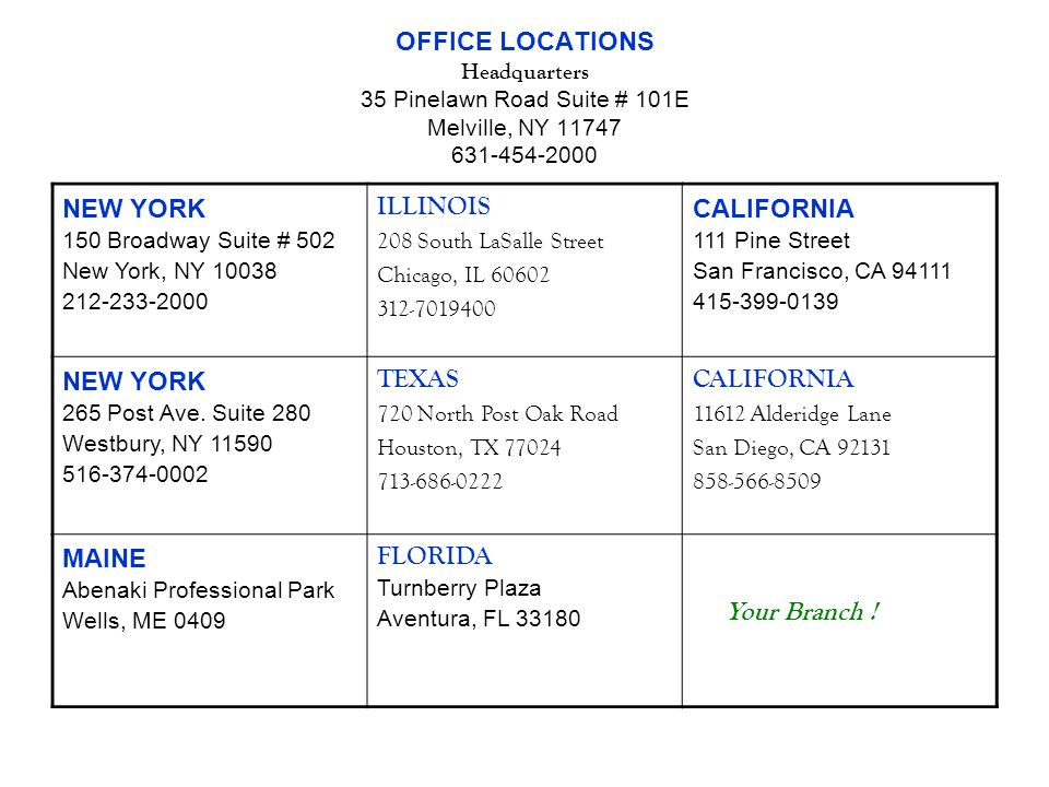 OFFICE LOCATIONS Headquarters 35 Pinelawn Road Suite # 101E Melville, NY 11747 631-454-2000