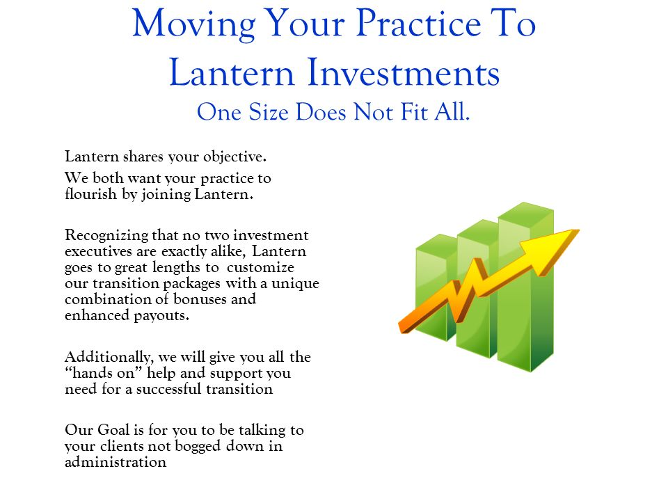 Moving Your Practice To Lantern Investments One Size Does Not Fit All.