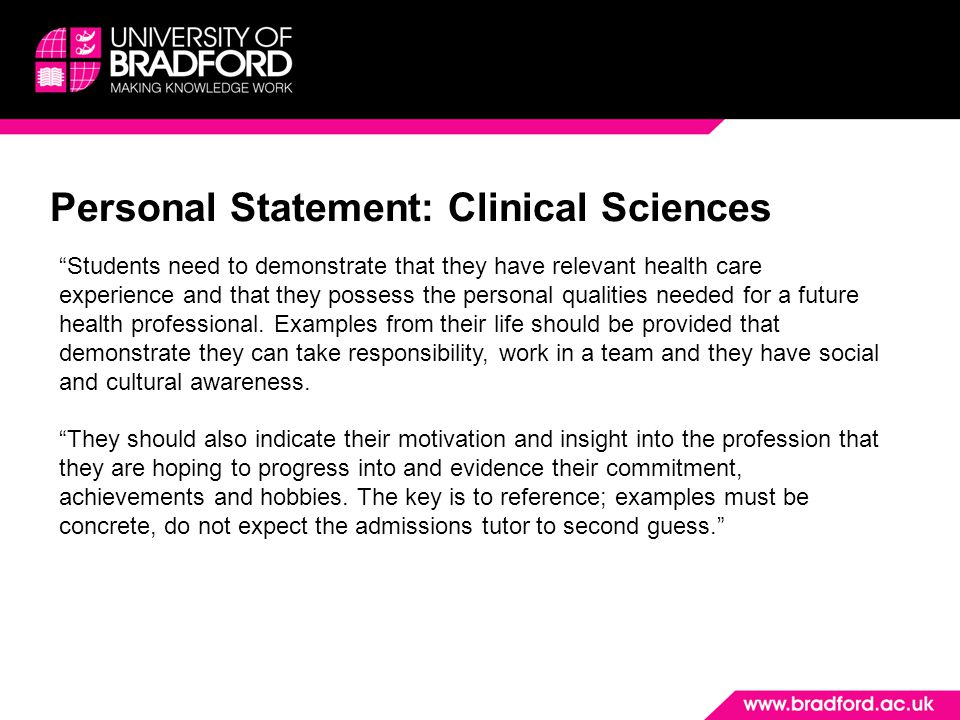 Personal Statement: Clinical Sciences
