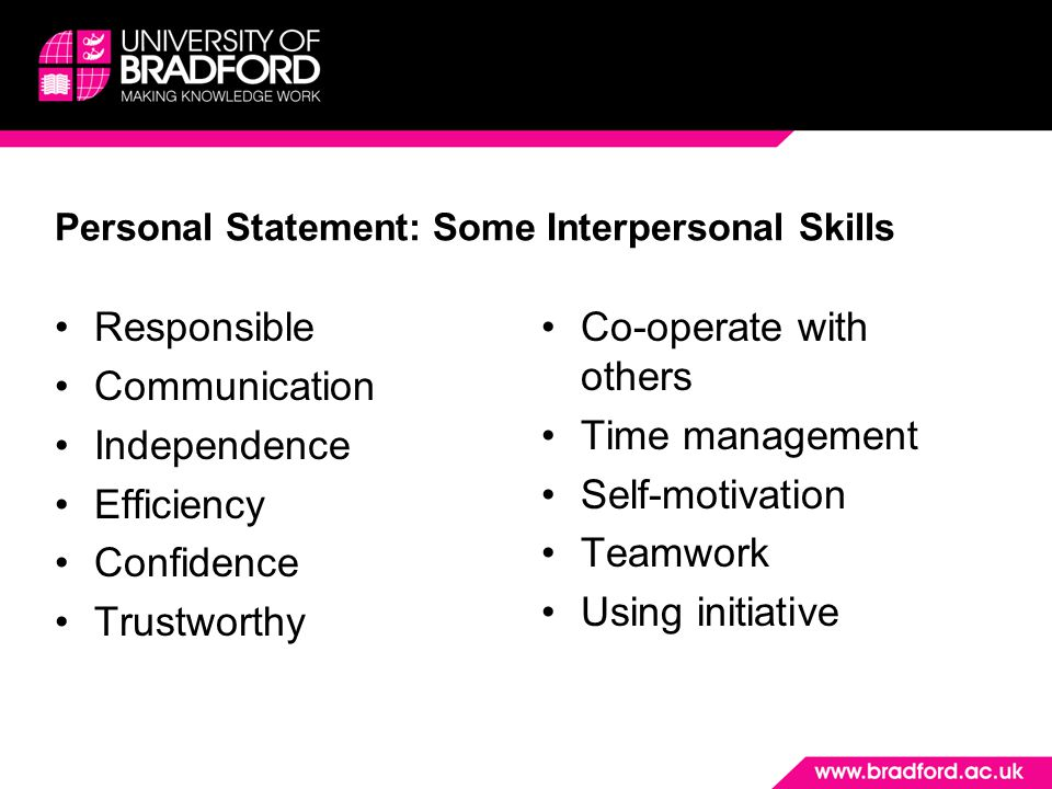 Personal Statement: Some Interpersonal Skills