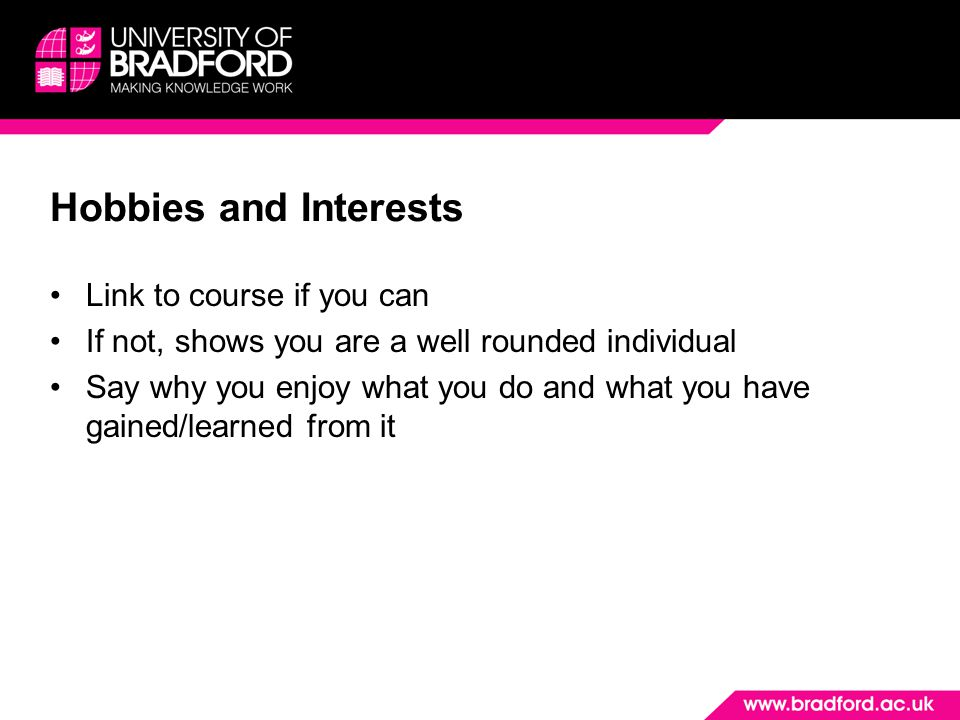 Hobbies and Interests Link to course if you can