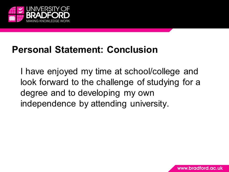 Personal Statement: Conclusion