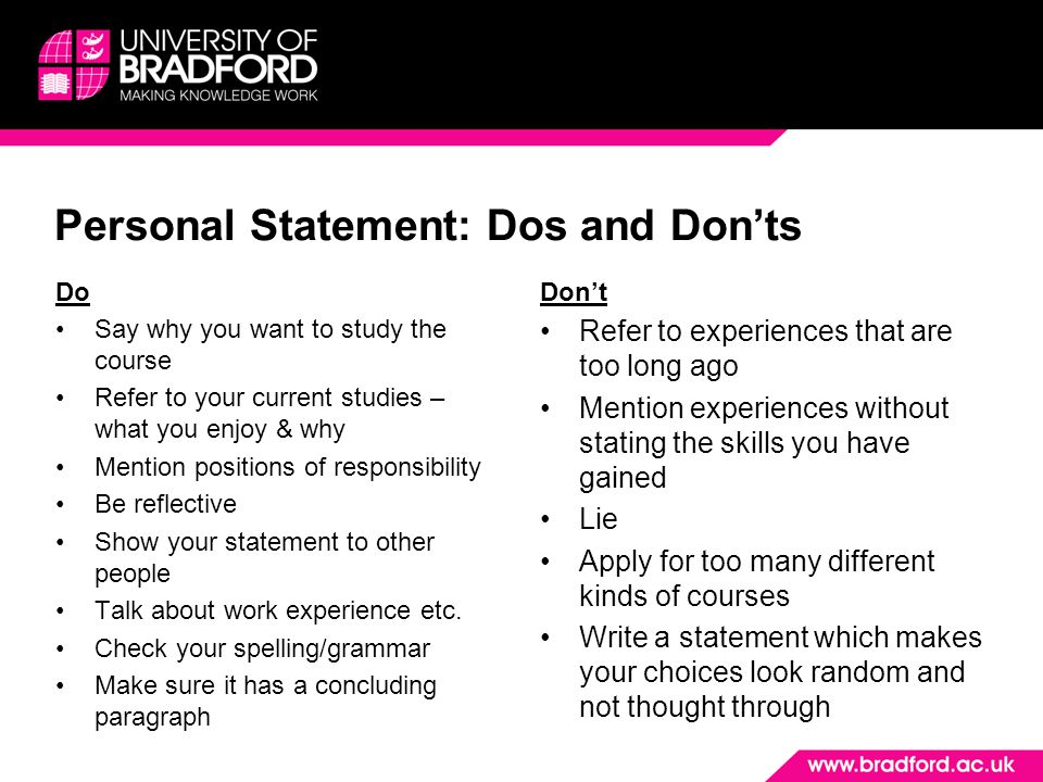 Personal Statement: Dos and Don'ts