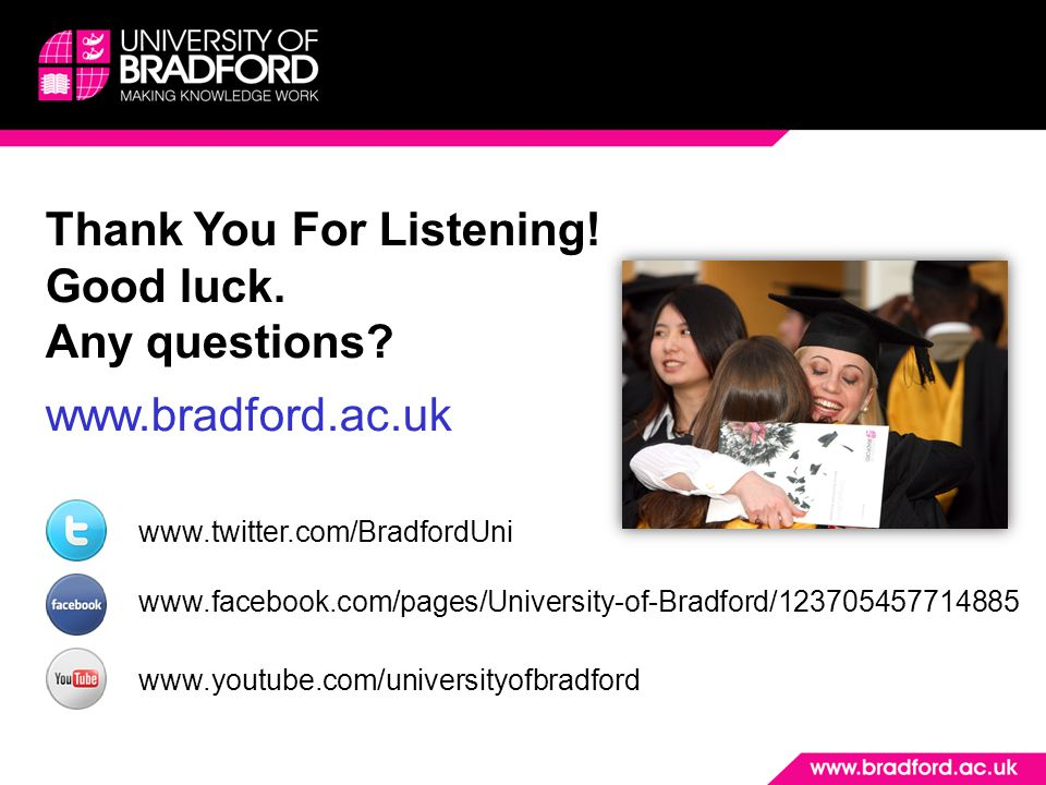 Thank You For Listening! Good luck. Any questions www.bradford.ac.uk
