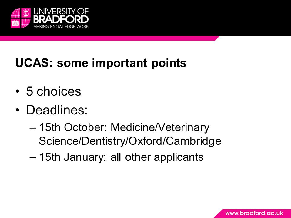 UCAS: some important points