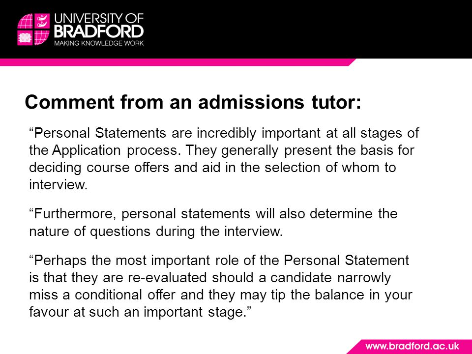 Comment from an admissions tutor: