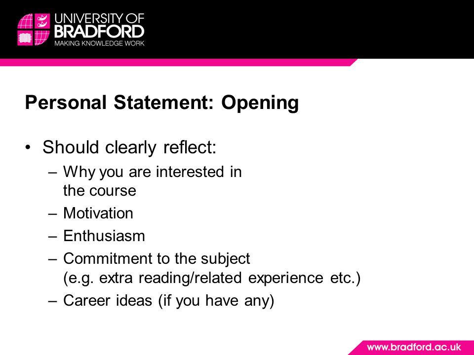Personal Statement: Opening