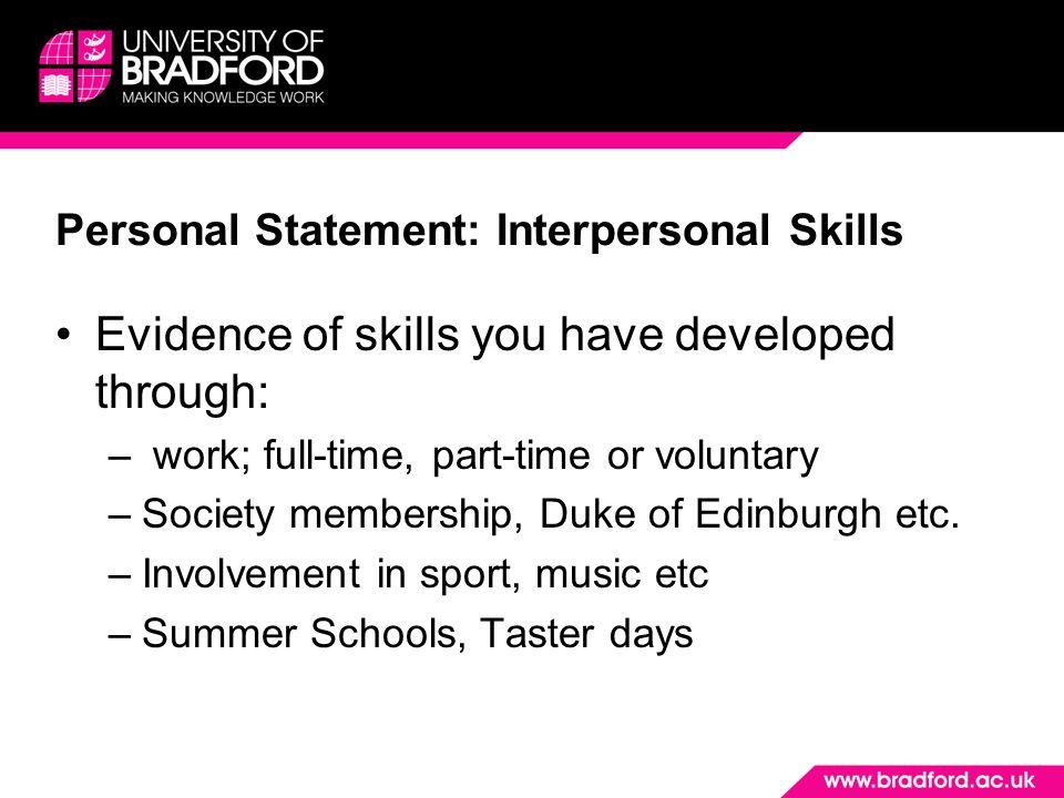 Personal Statement: Interpersonal Skills