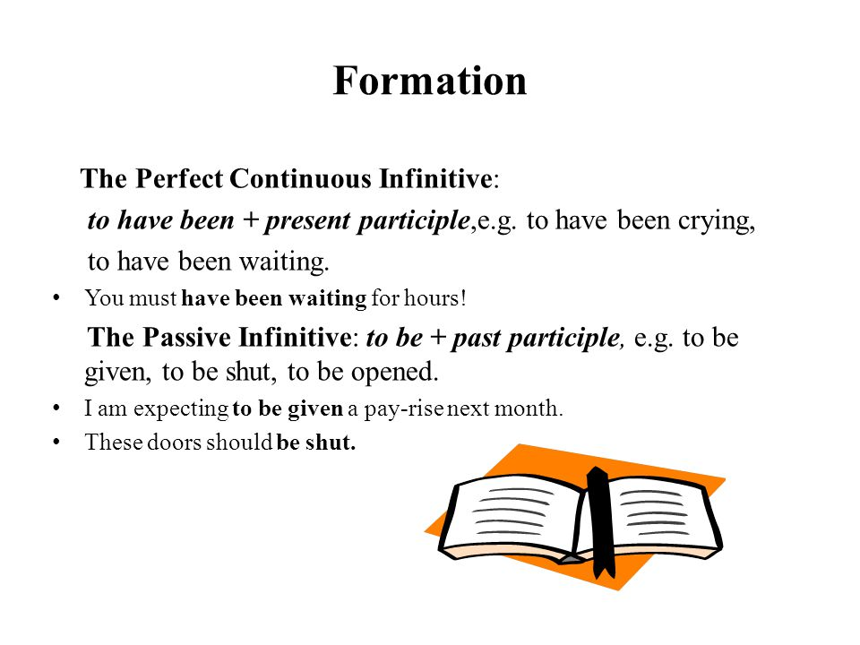 Formation The Perfect Continuous Infinitive: